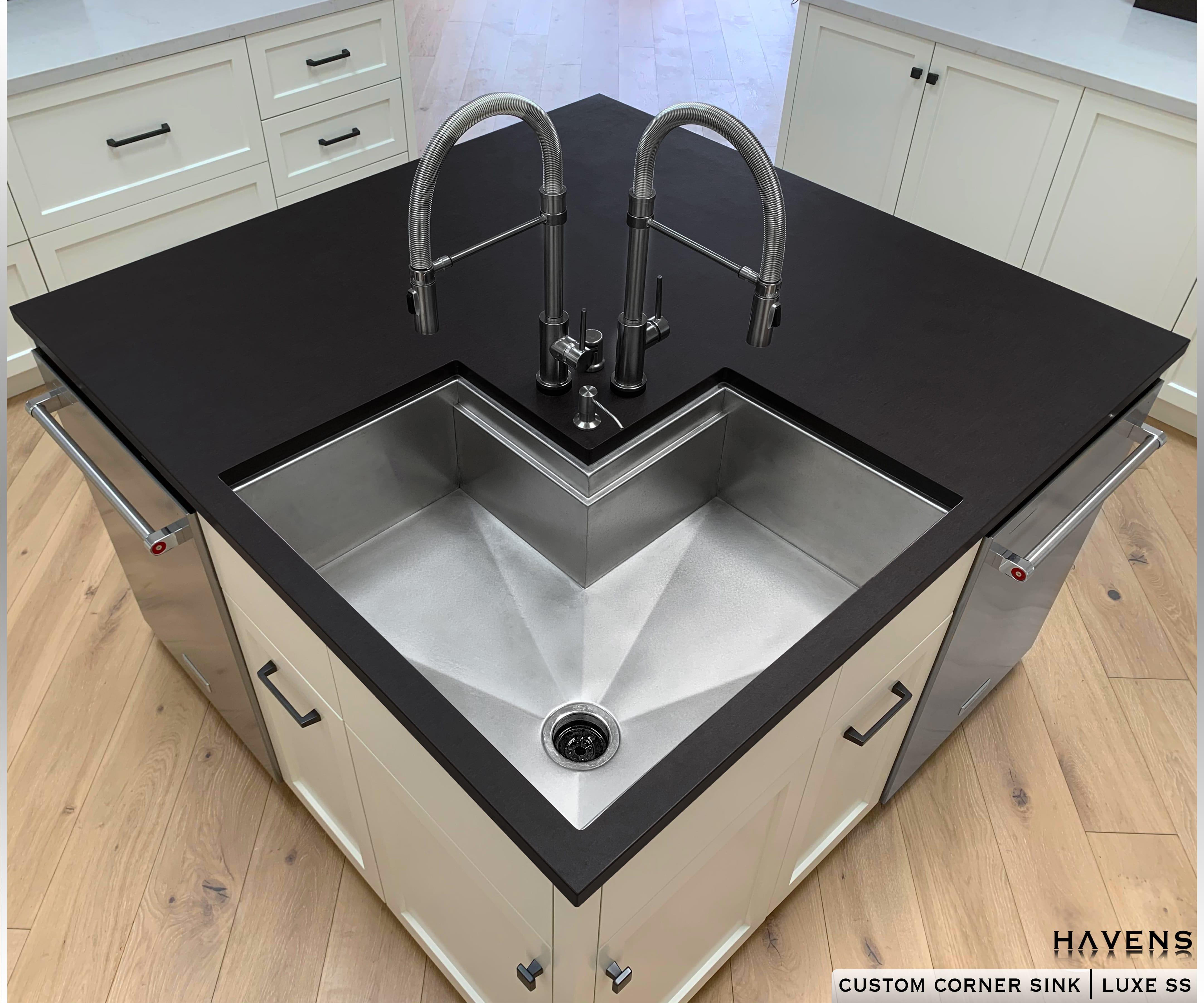 Custom Stainless Corner Sink Havens Luxury Metals
